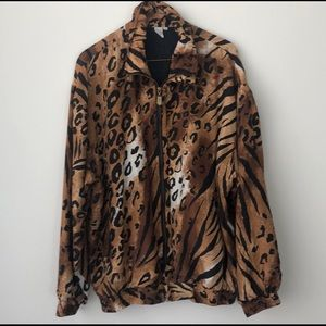 FUDA International Leopard Silk Bomber Jacket